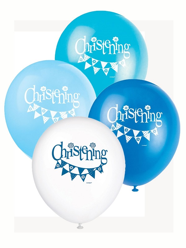 Blue Christening 12 inch Balloons x 8 - Christening Balloons - Fabulous Partyware